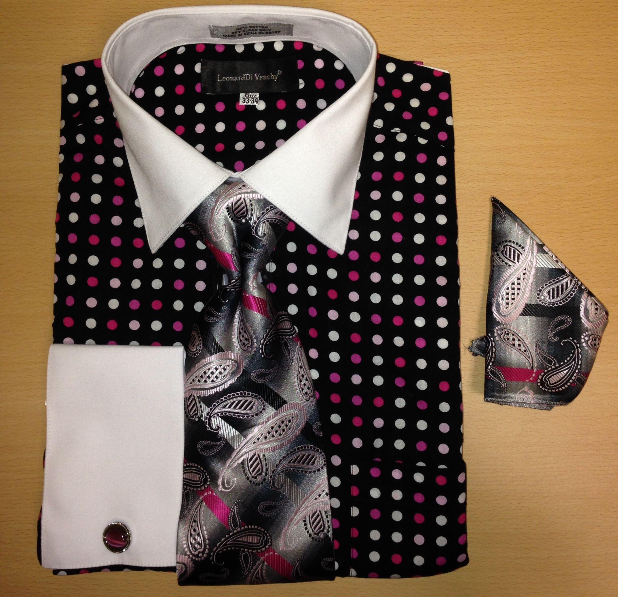 Men's Fashion Multi Xtreme Polka Dot Cufflink Dress Shirt Set - Black and Pink