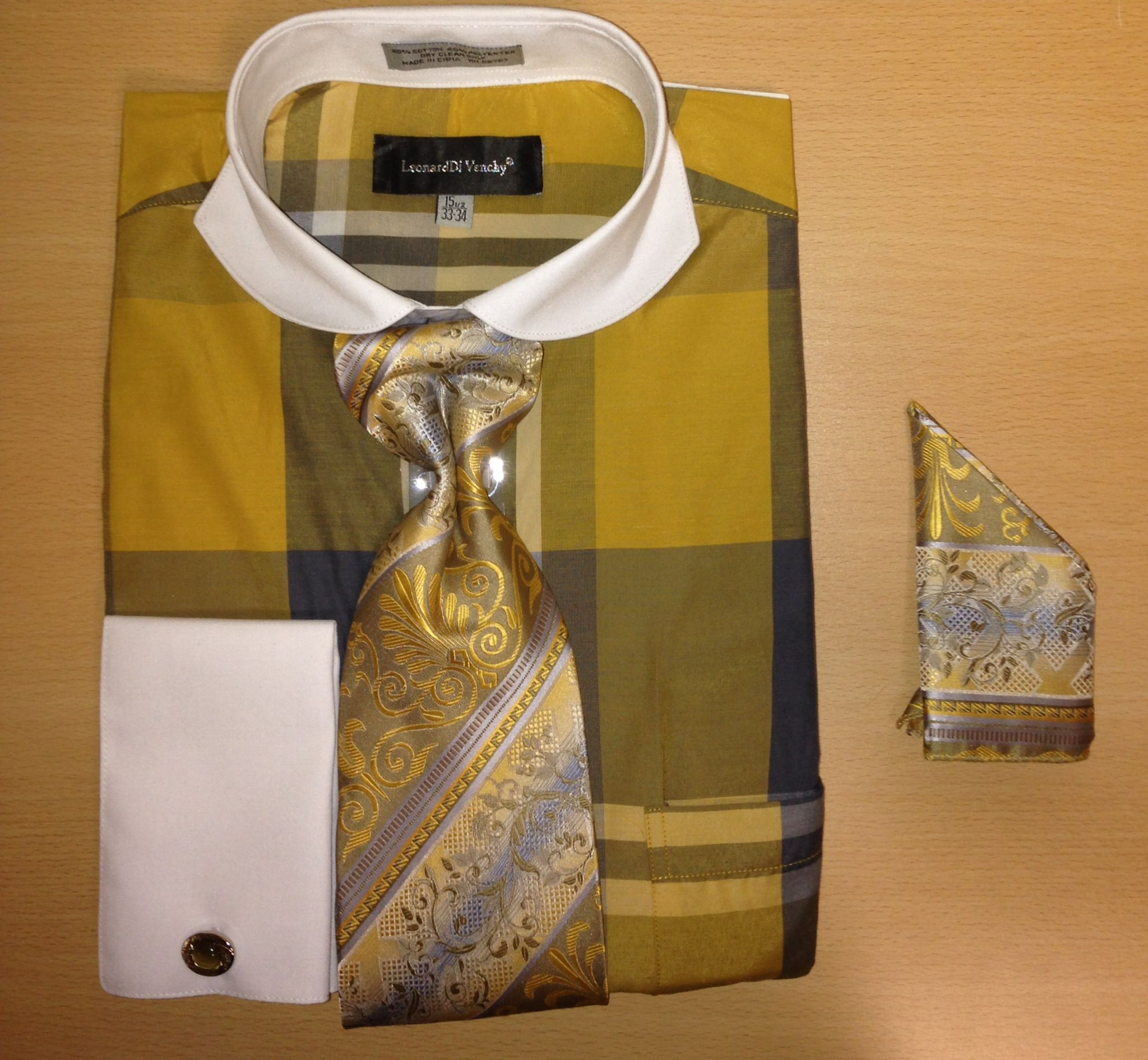 Men's Fashion Enormous Checked Cufflink Dress Shirt Set - Gold & Navy