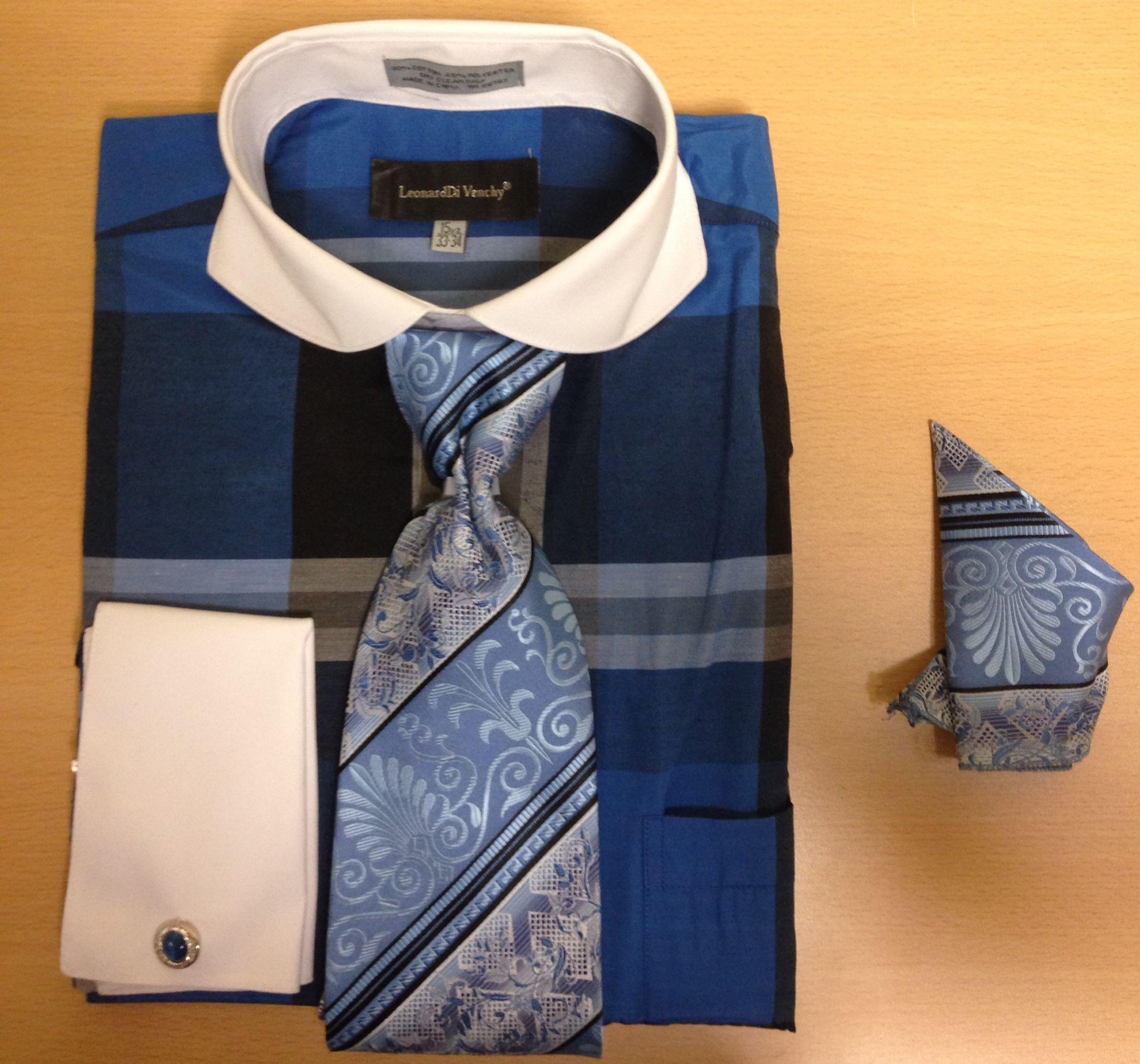 Men's Fashion Enormous Checked Cufflink Dress Shirt Set - Blue
