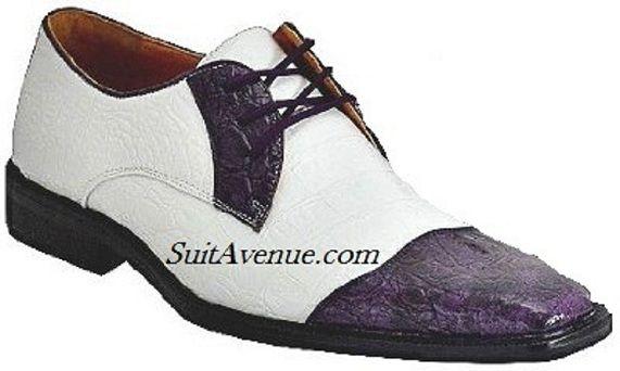 Exotic Crocodile Print Two Tone Dress Shoe - White/Purple