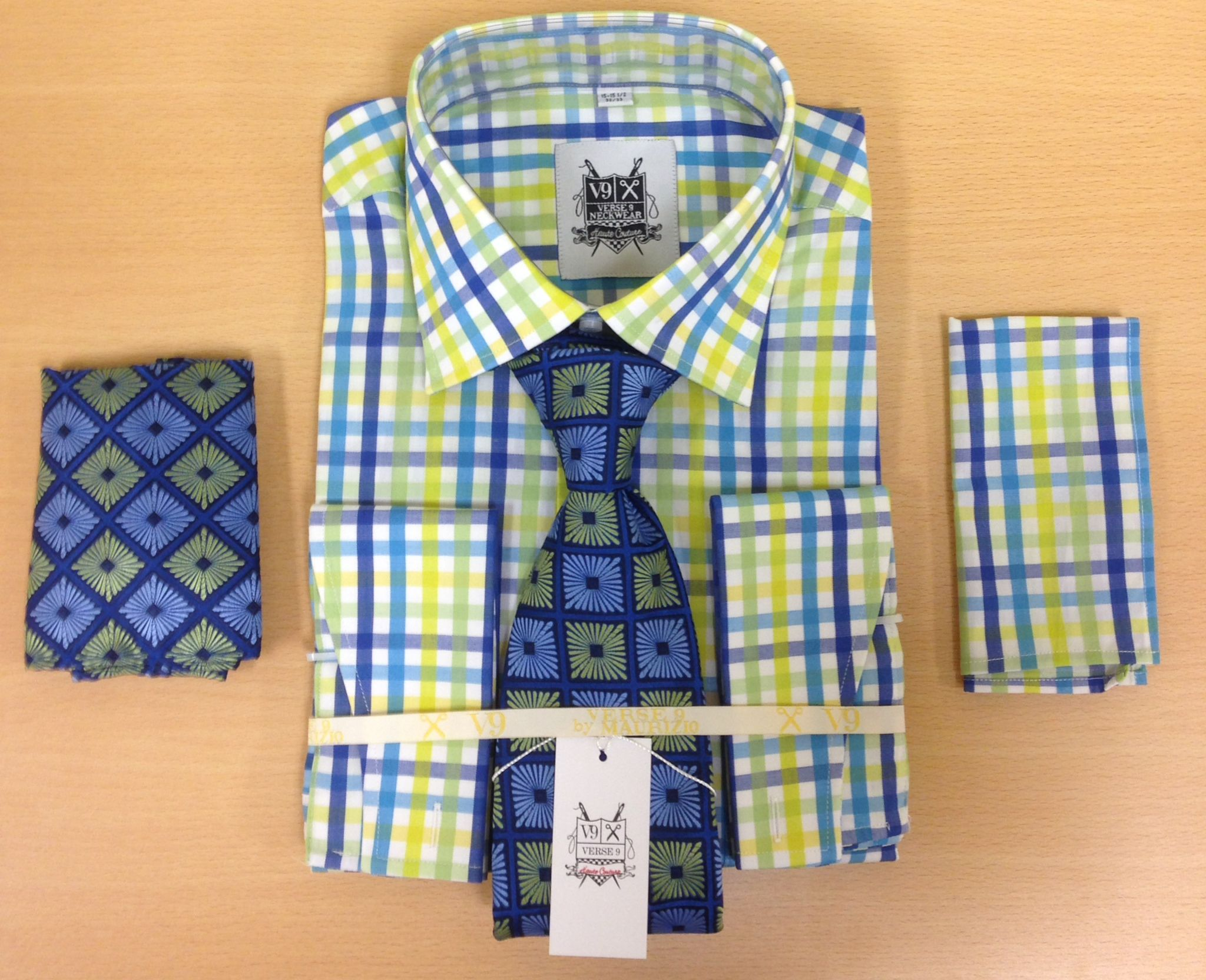 *Men's Fashion Royal and Yellow Tri-Mix Dress Shirt and Custom Tie and 2 Hankies