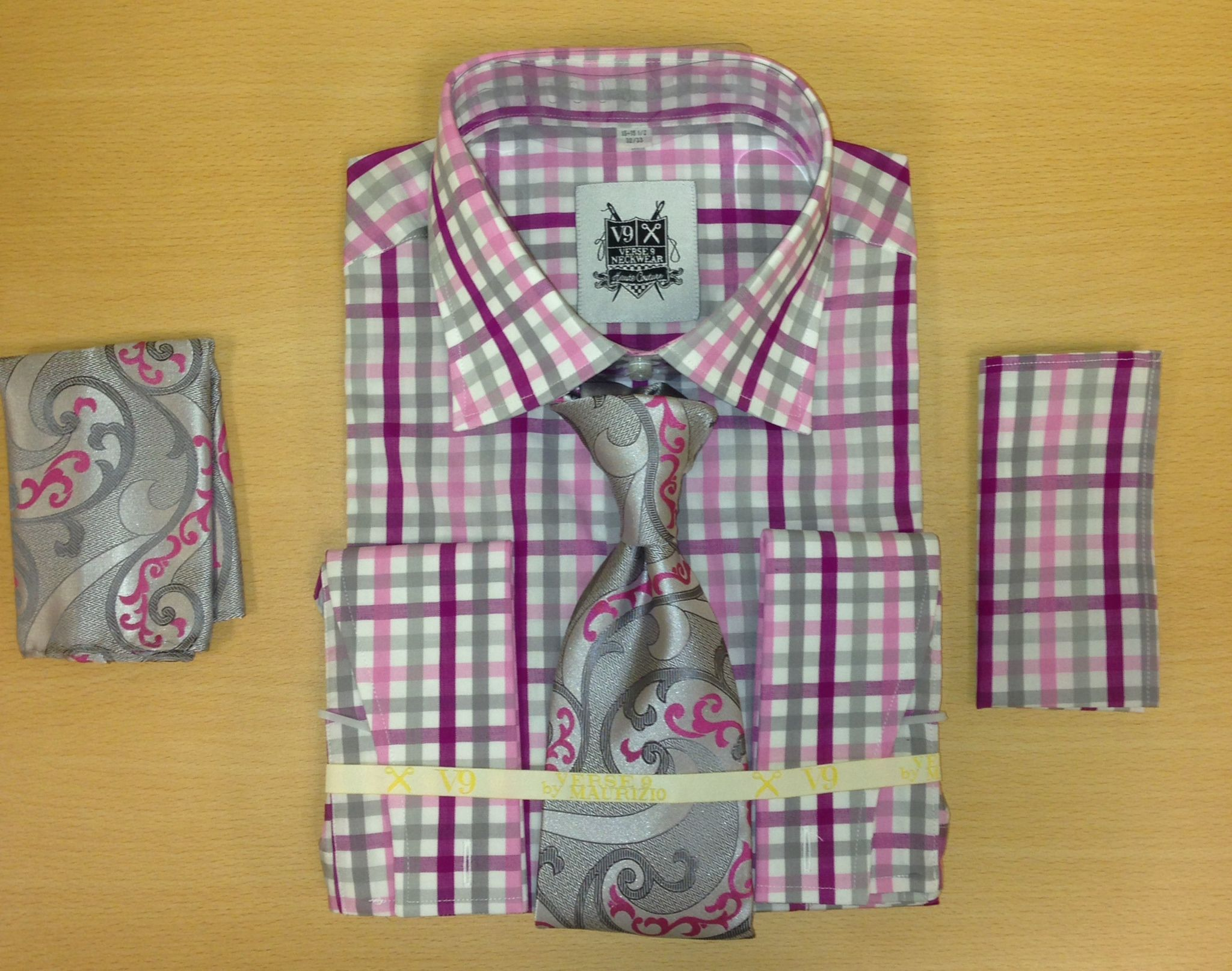 Men's Fashion Pink and Gray Tri-Mix Dress Shirt and Custom Tie and 2 Hankies