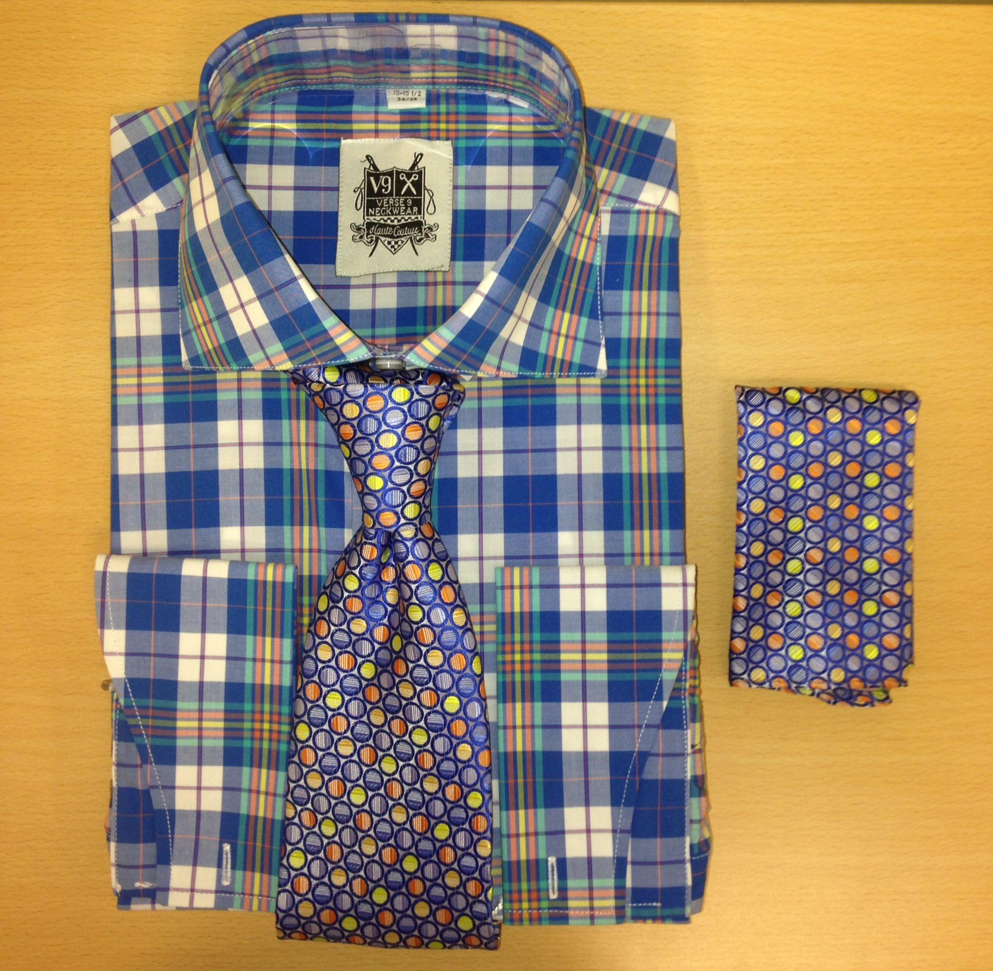 Men's Fashion Royal Blue Checked Polka Dress Shirt and Custom Tie/Hanky