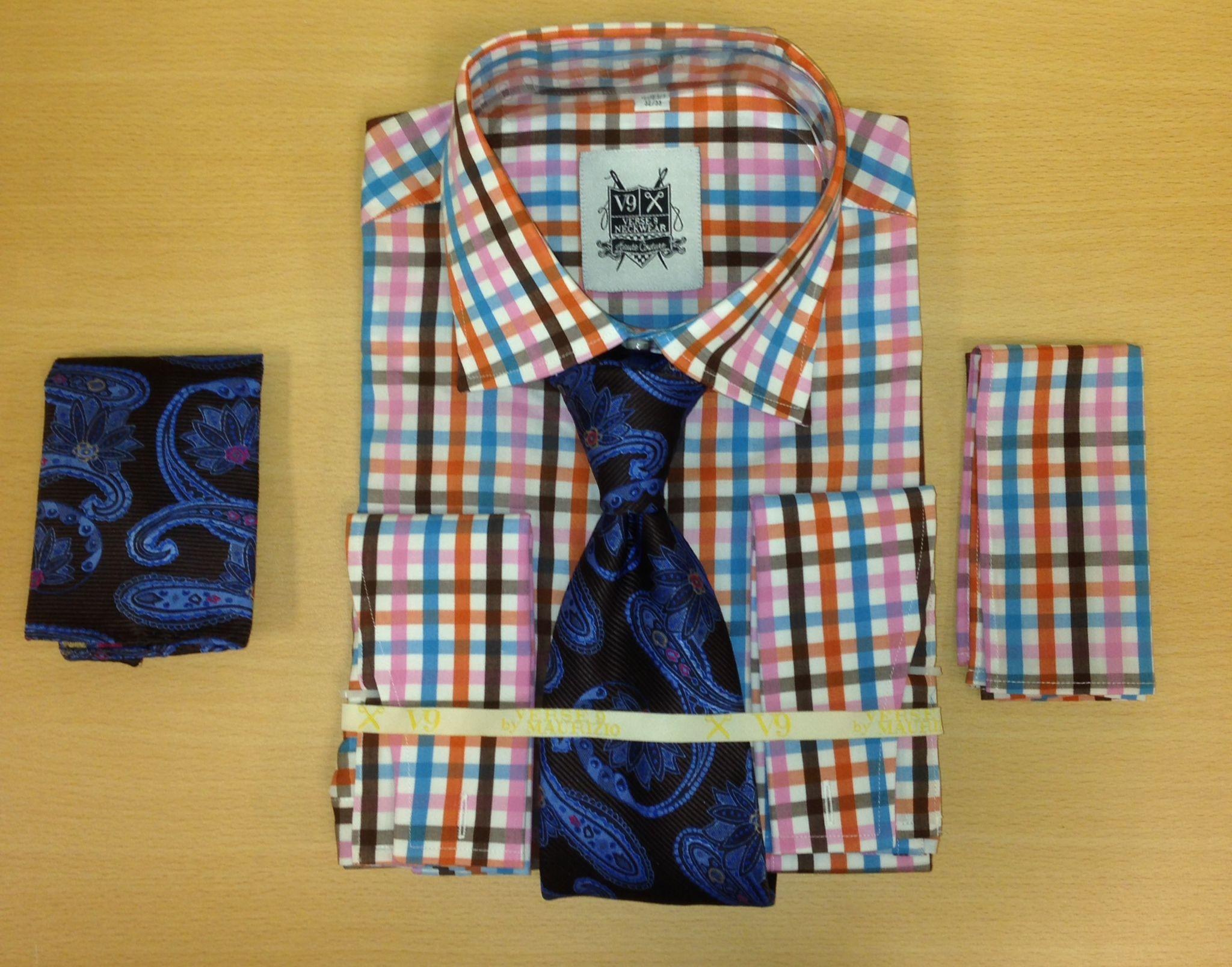 *Men's Fashion Pink/Brown/Blue Tri-Mix Dress Shirt and Custom Tie and 2 Hankies