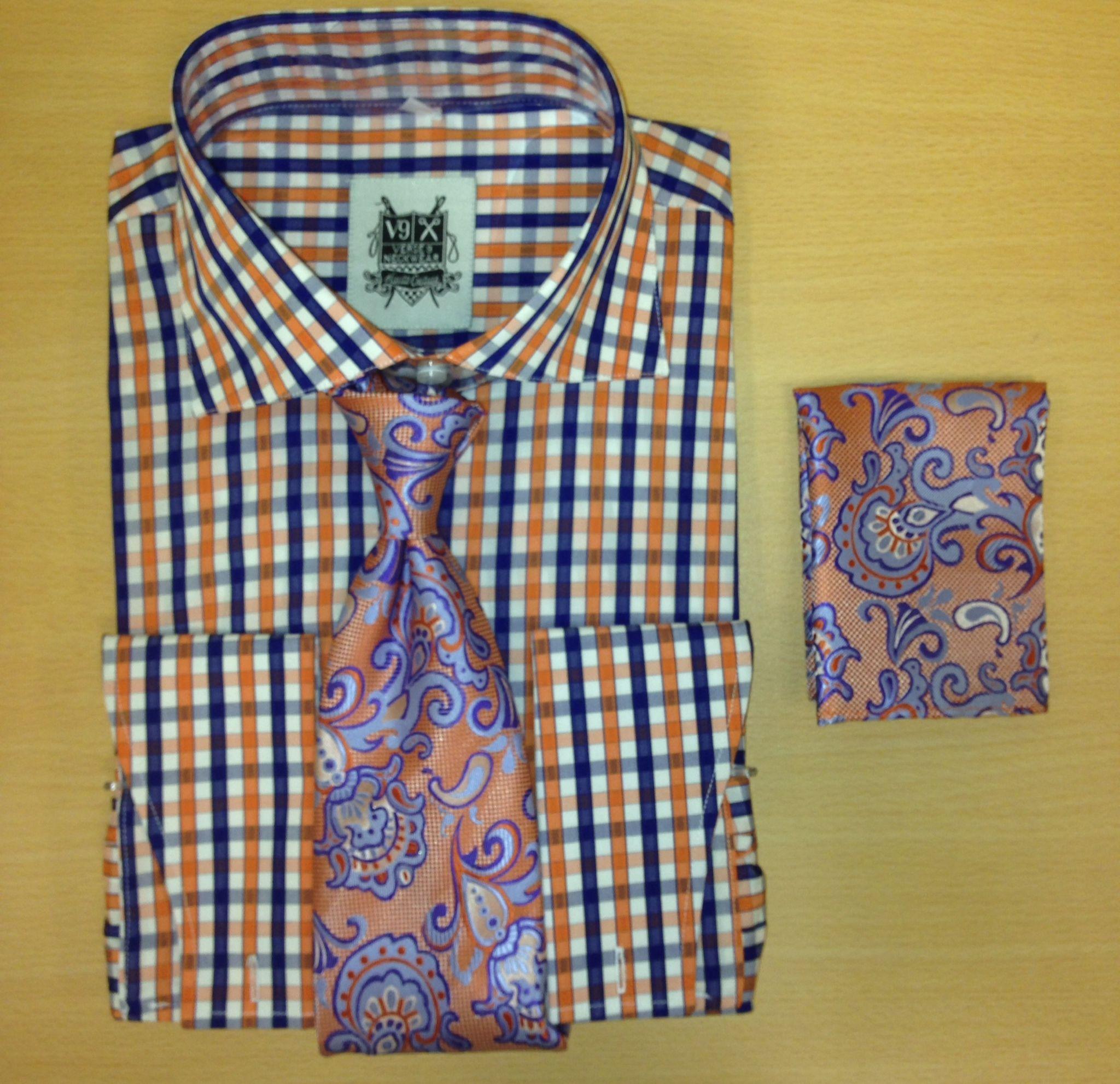 *Men's Fashion Orange and Navy Flava Dress Shirt and Custom Tie/Hanky
