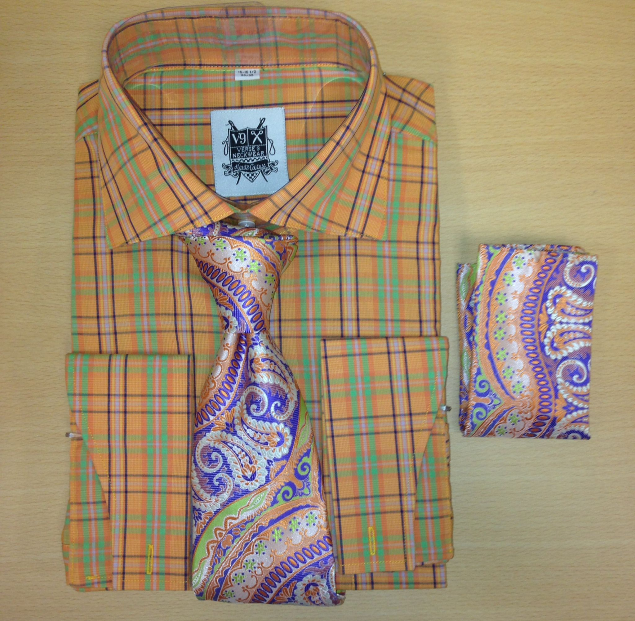 *Men's Fashion Tiger Orange Multi Checked Dress Shirt and Custom Tie/Hanky