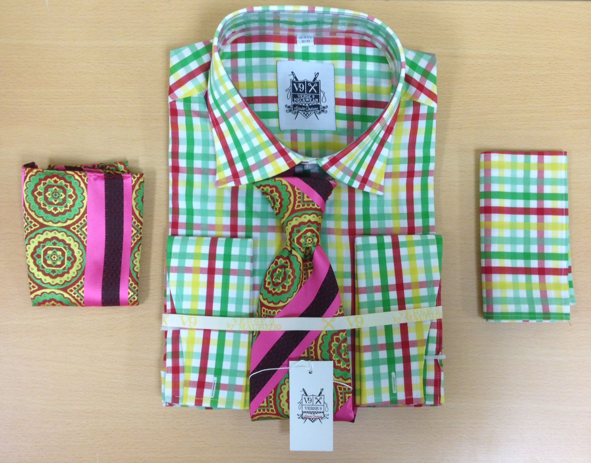 *Men's Fashion Mint/Cherry/White Tri-Mix Dress Shirt and Custom Tie and 2 Hankies