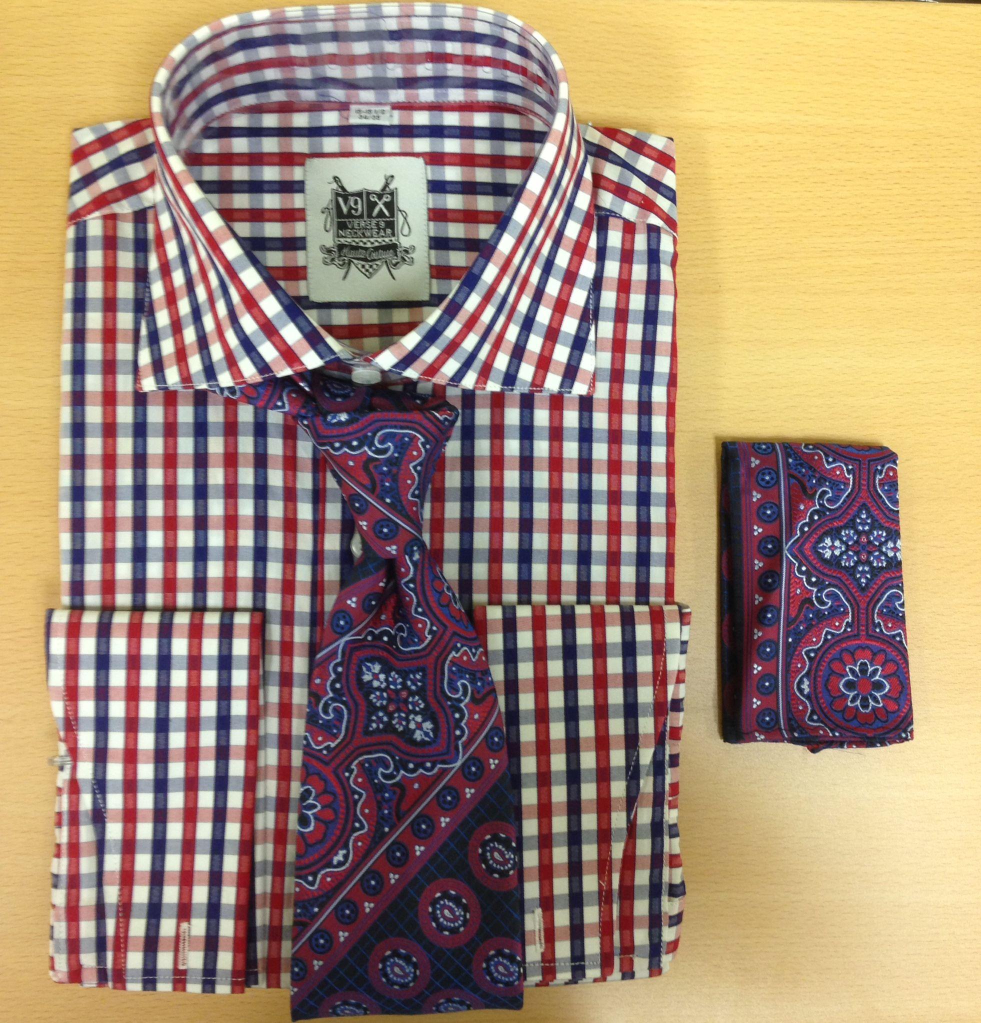 *Men's Fashion Red/Navy Elegant Checked Dress Shirt and Custom Tie/Hanky