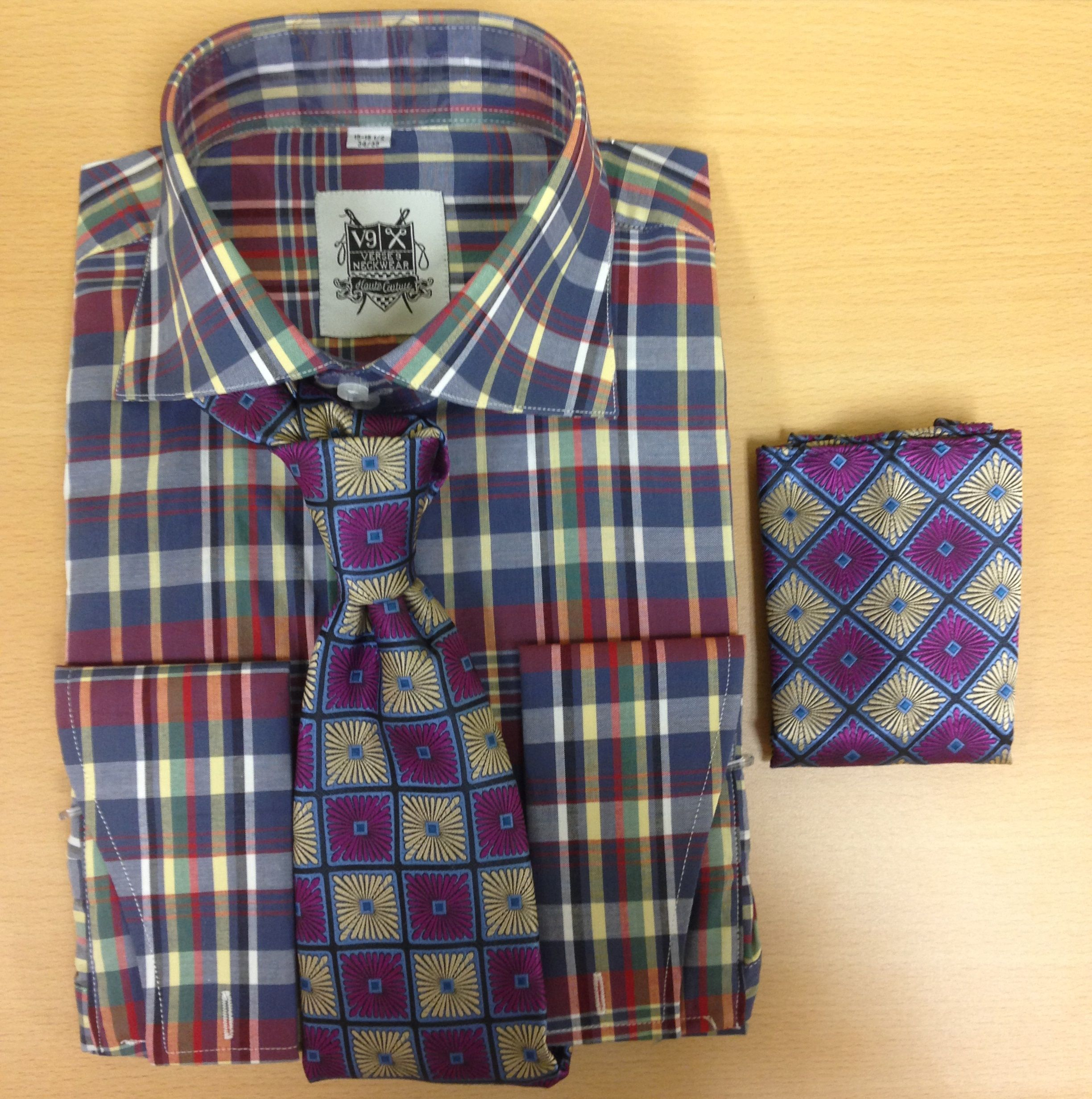 Men's Fashion Red and Navy Madras Checked Dress Shirt and Custom Tie/Hanky