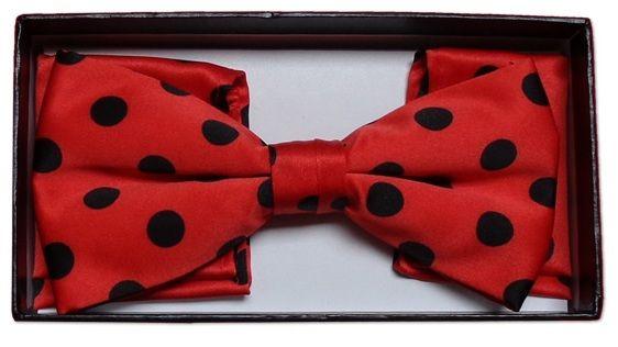 *Men's Polka Dot Bow Tie + Hanky - Red & Black