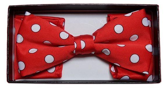 *Men's Polka Dot Bow Tie + Hanky - Red & White