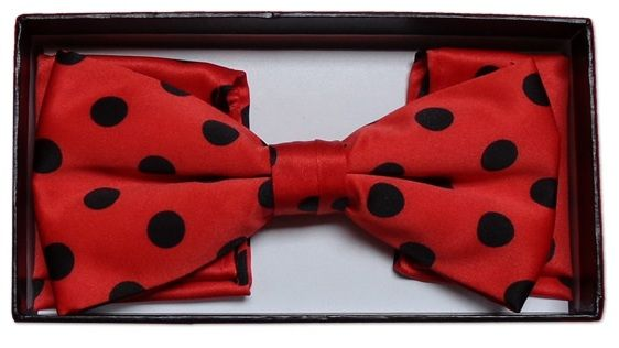*Men's Polka Dot Bow Tie + Hanky - Red & Black