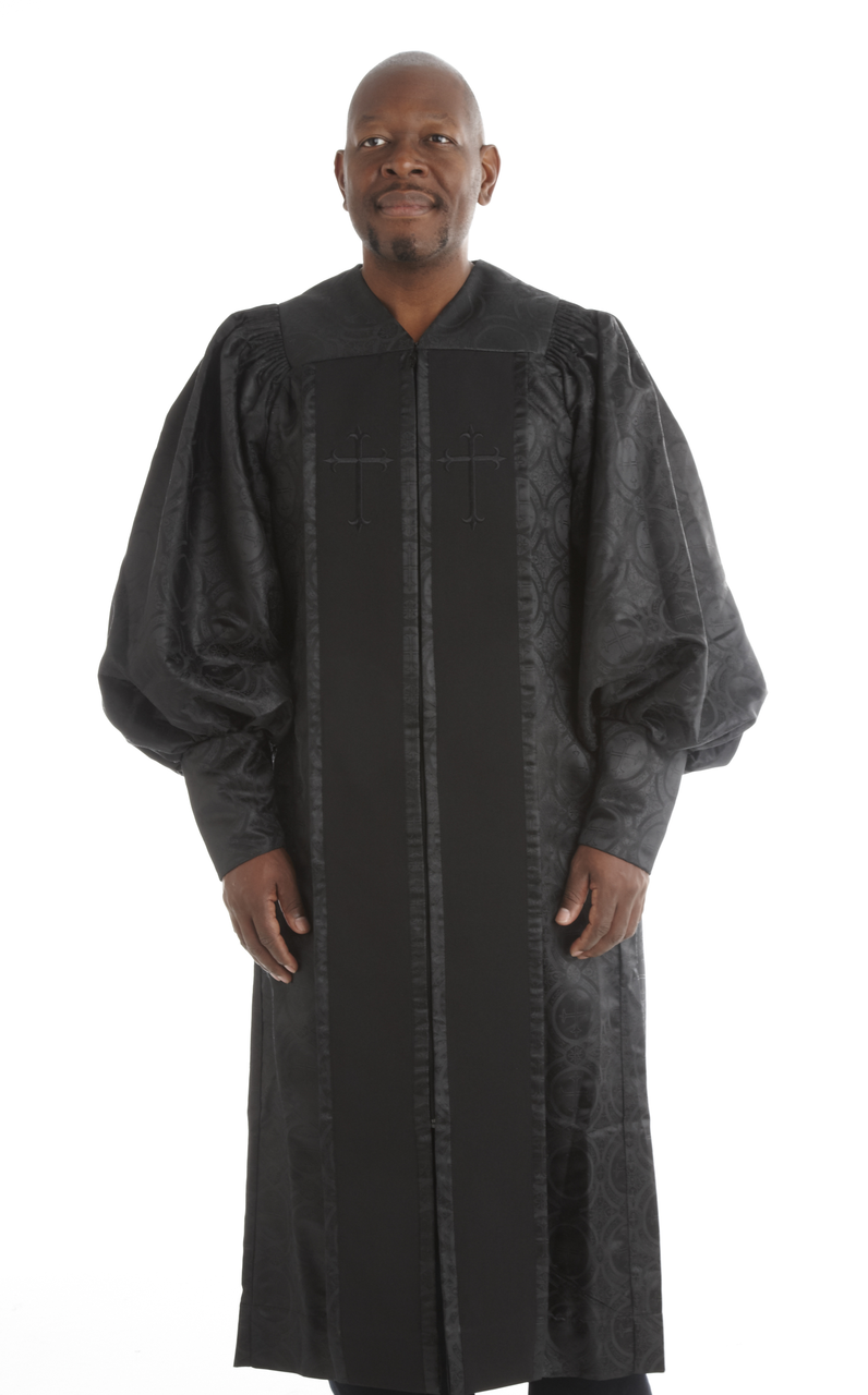 954 P. Men's & Women's Clergy Robe - Solid Black Brocade