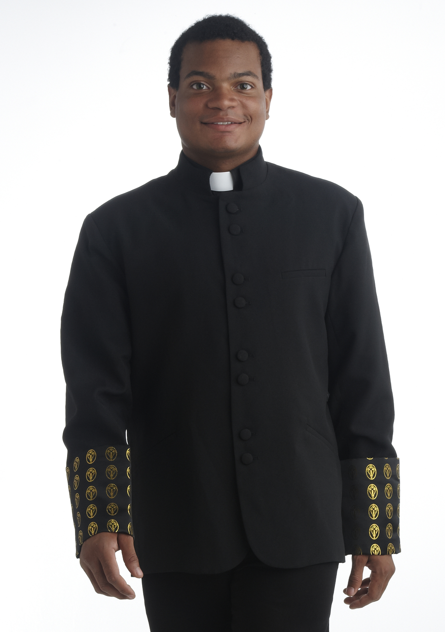 Men's Black and Gold Clergy Coat