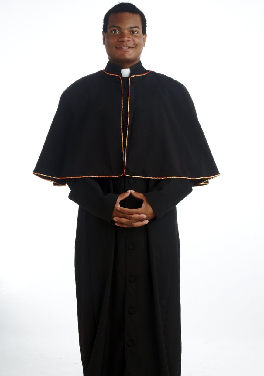 196 M. Men's Black Pastor/Clergy Robe With Cape