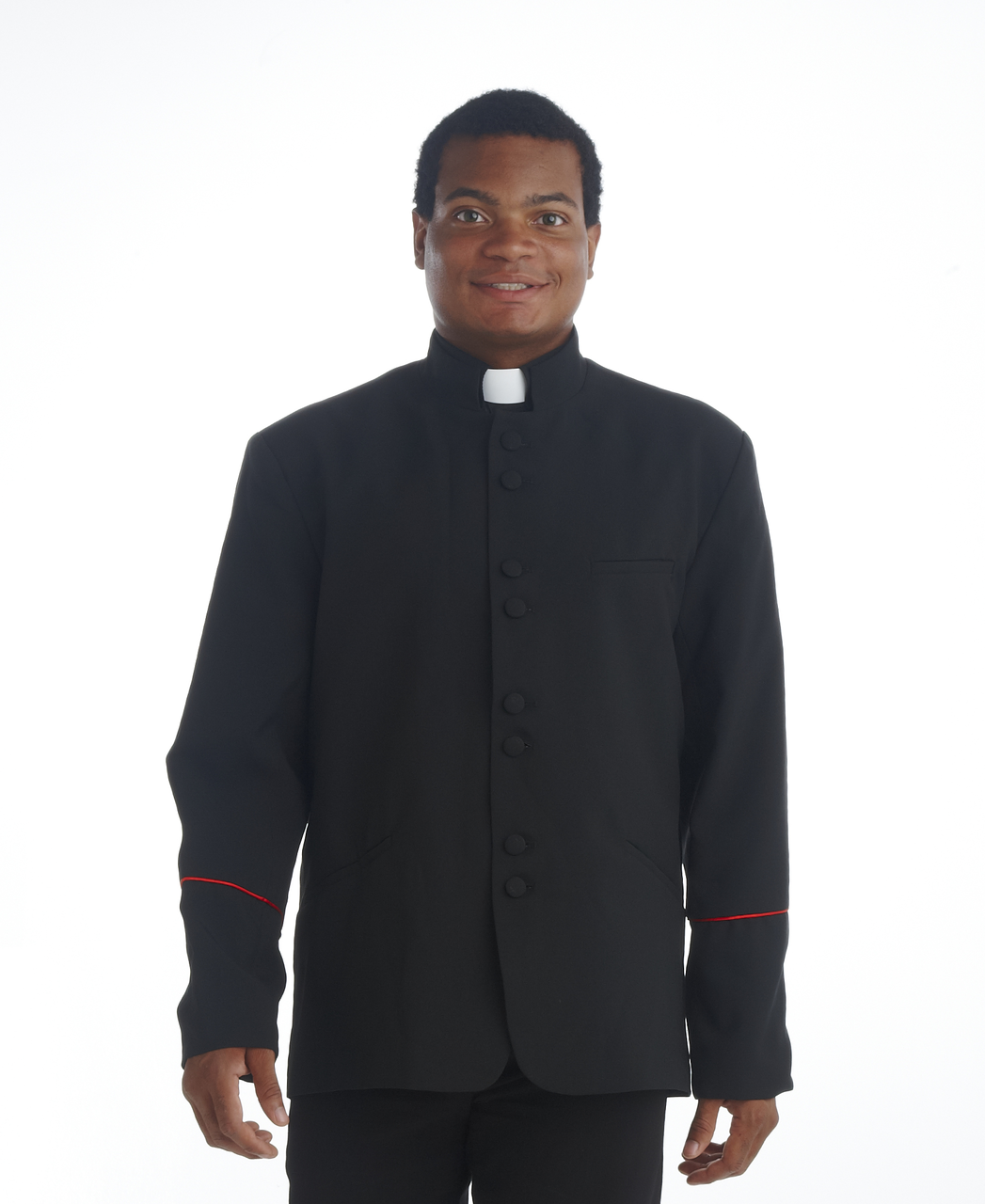 Clergy Mens Jacket Black and Red