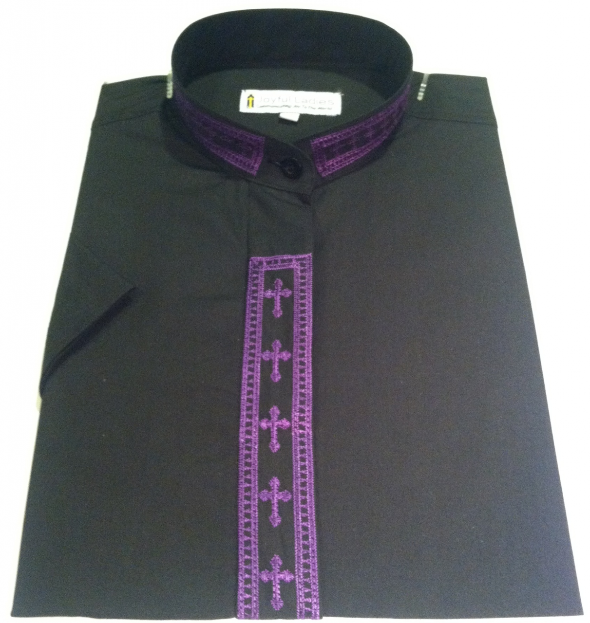 359. Men's Short-Sleeve Clergy Shirt With Fine Embroidery - Black/Purple