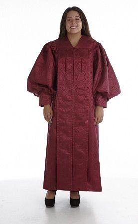 956 P. Men's & Women's Clergy Robe - Solid Burgundy Brocade