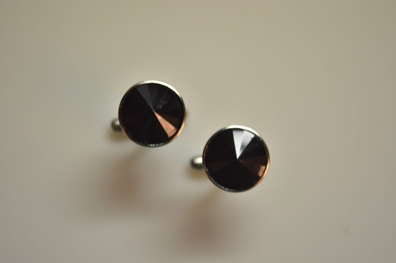 *2 Pc. Gracious Stone Cufflinks - Black