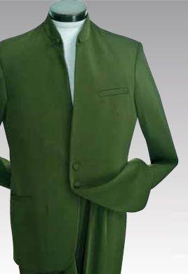 Open-Collar 2-Button Clergy Suit - Olive