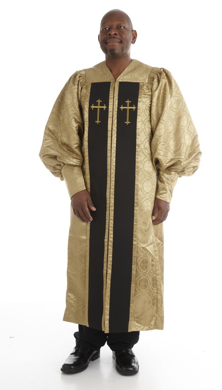 952 P. Men's & Women's Clergy Robe - Gold Brocade with Black