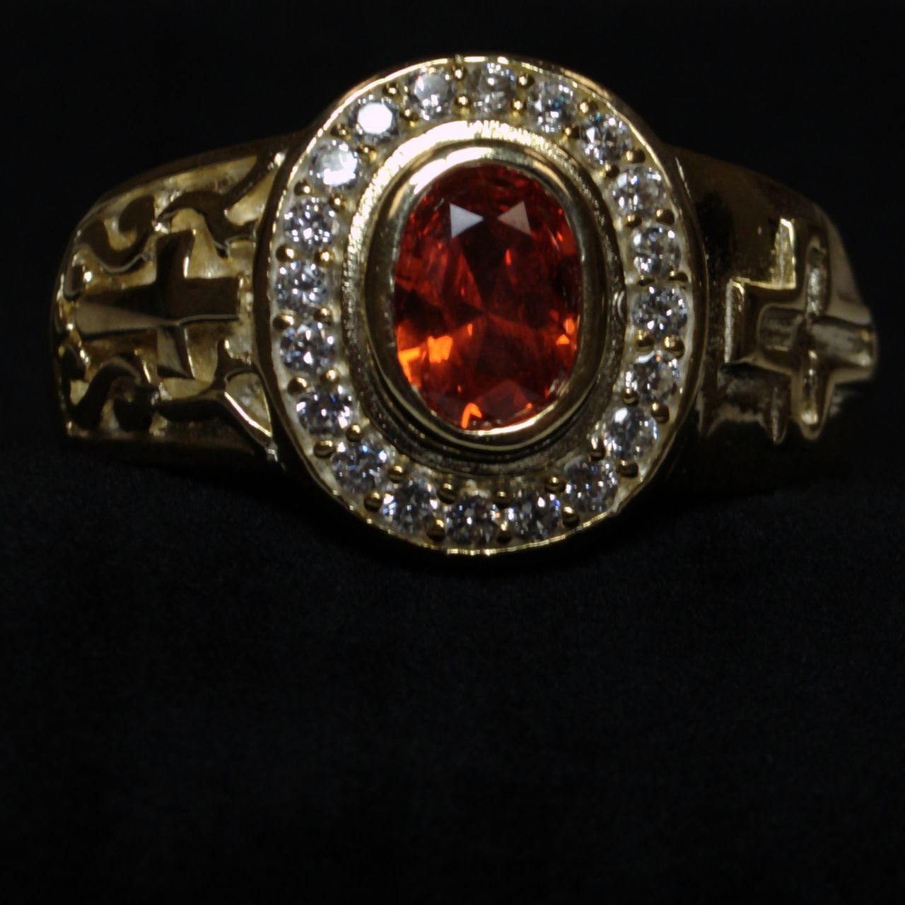 Clergy Ring with Red Stone - Gold w/ Red