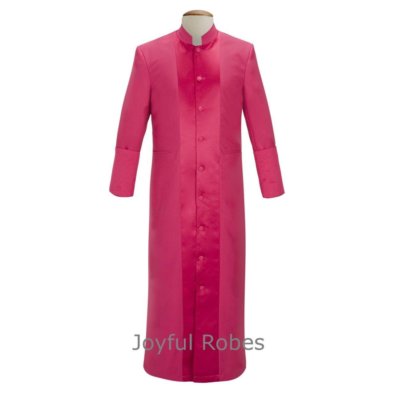 133 M. Men's Pastor/Clergy Robe Fuchsia With Majestic Satin