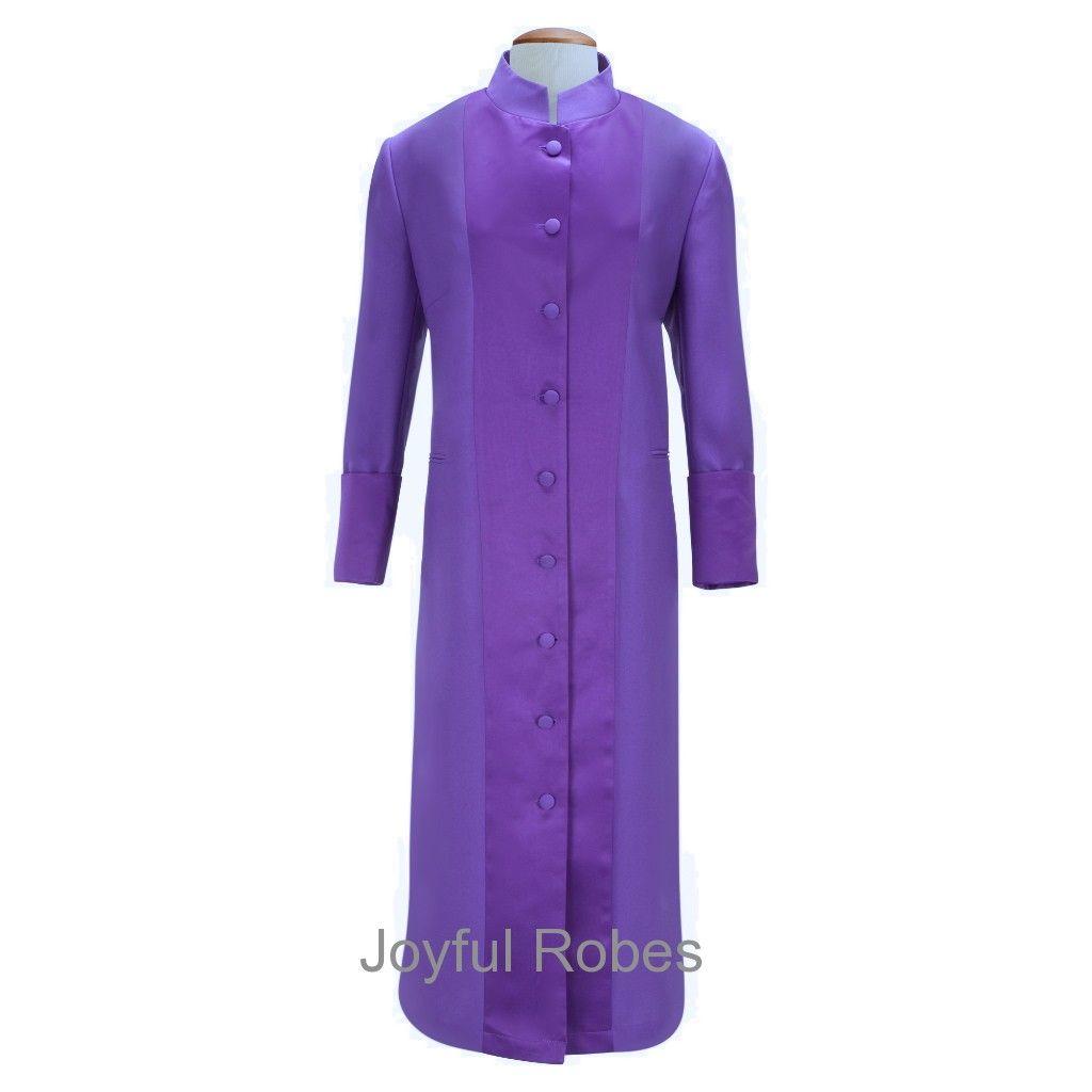 132 W. Women's Pastor/Clergy Robe - Purple With Majestic Satin