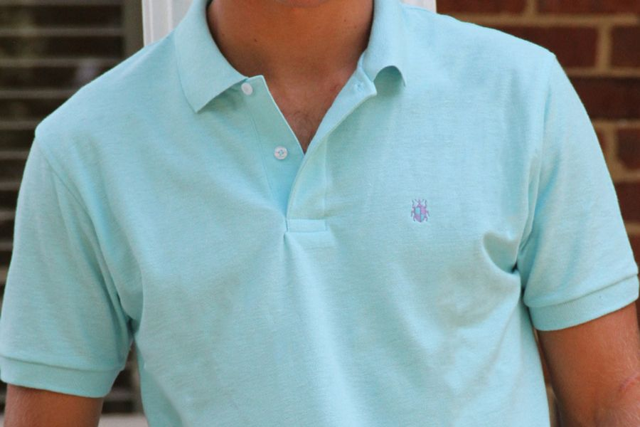 Men's Made In The South NC Cotton Polo Shirt - Turquoise Blue