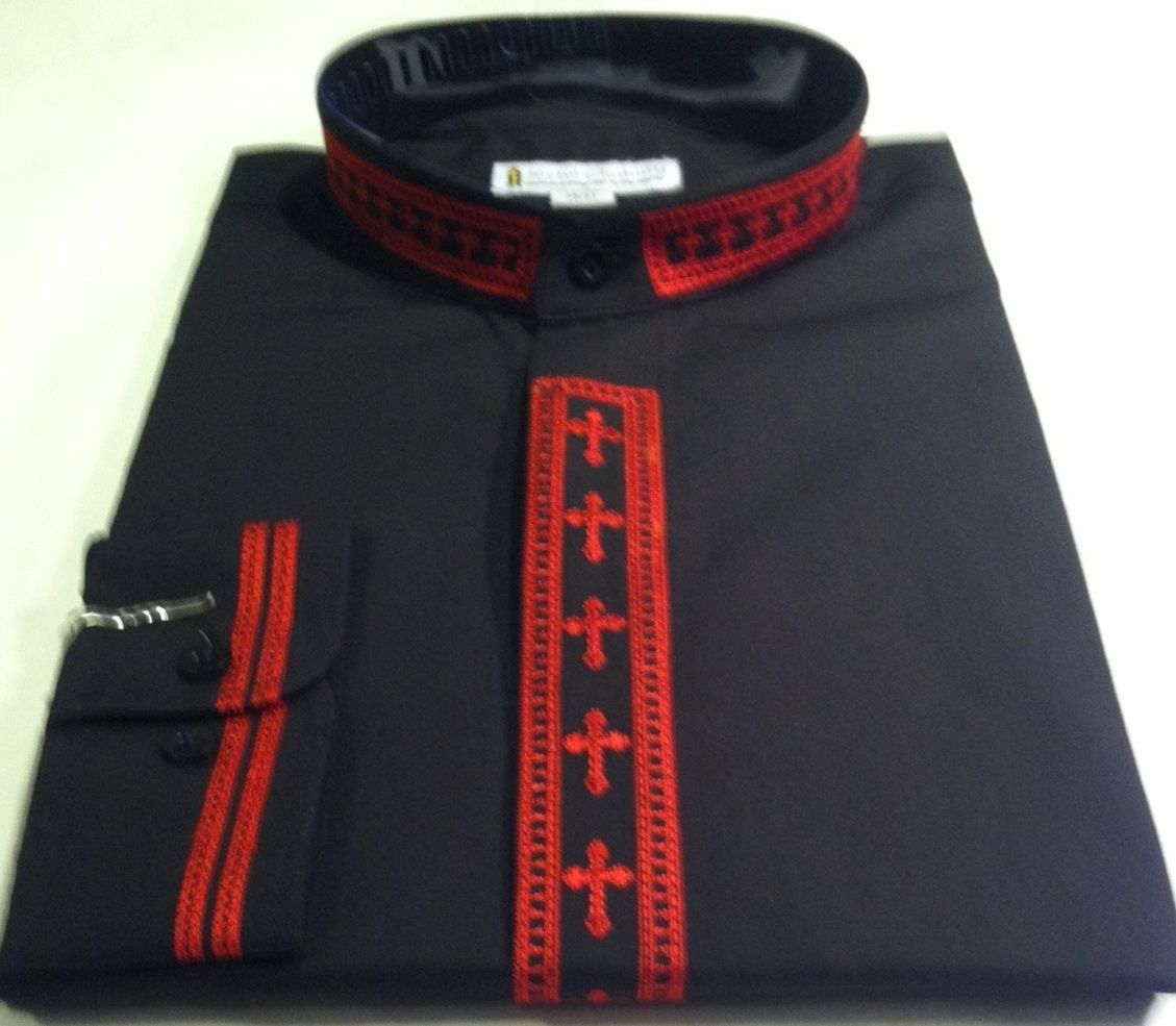 307. Men's Long-Sleeve Clergy Shirt With Fine Embroidery - Black/Red