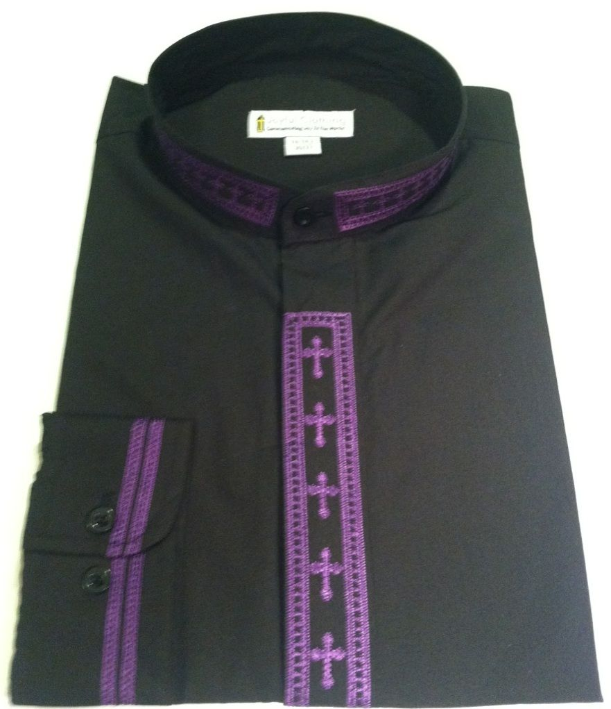 309. Men's Long-Sleeve Clergy Shirt With Fine Embroidery - Black/Purple