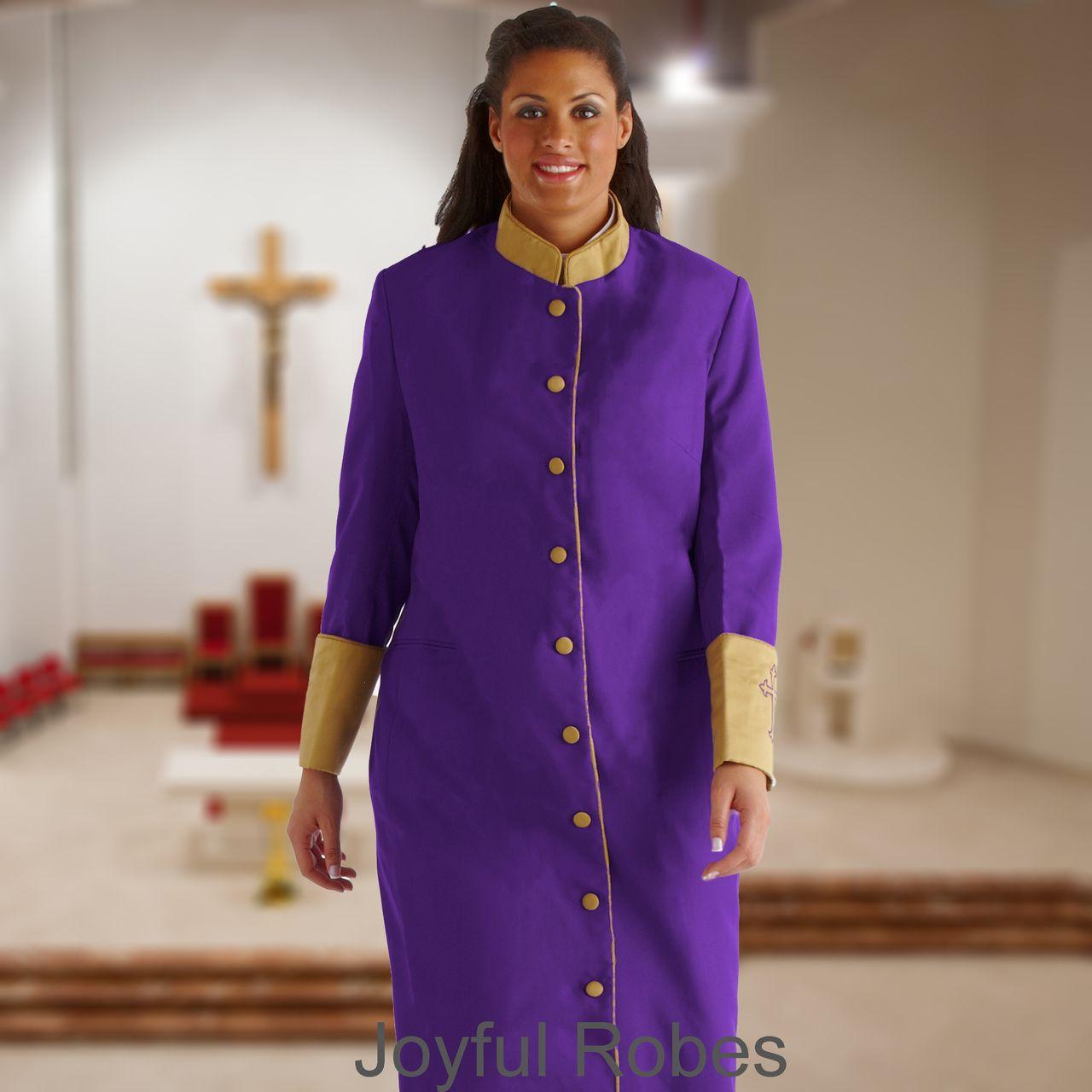 302 W. Women's Clergy/Pastor Robe Purple/Gold