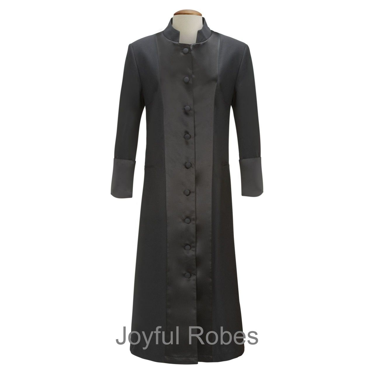 126 W. Women's Satin Pastor/Clergy Robe Black/Black