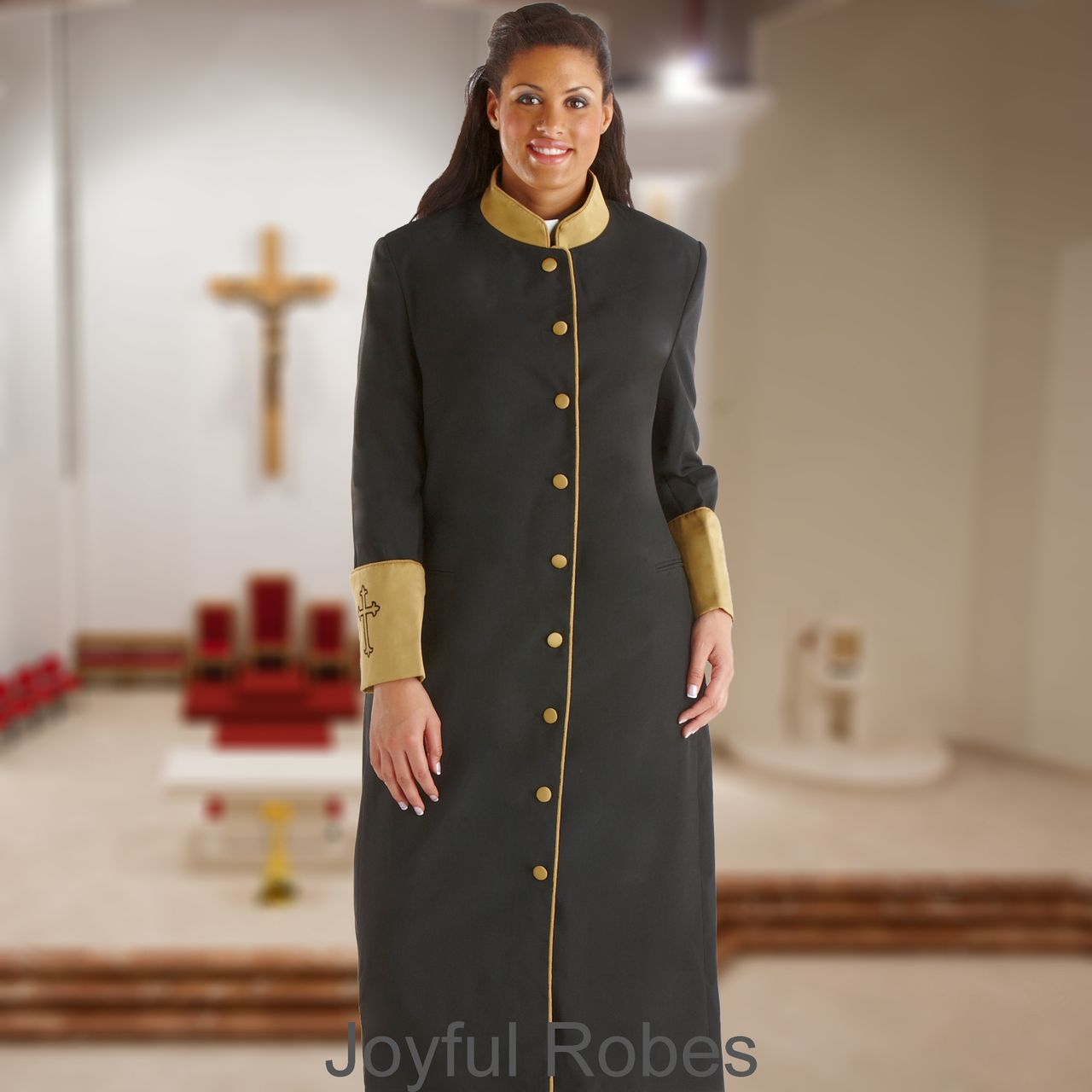 301 W. Women's Clergy/Pastor Robe Black/Gold Cuff