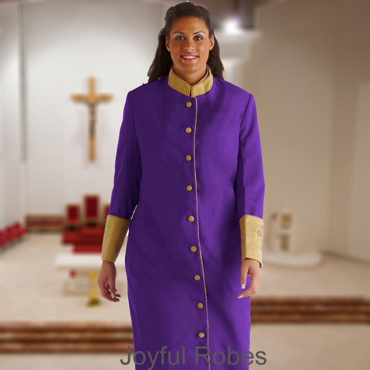 302 W. Women's Clergy/Pastor Robe Purple/Gold