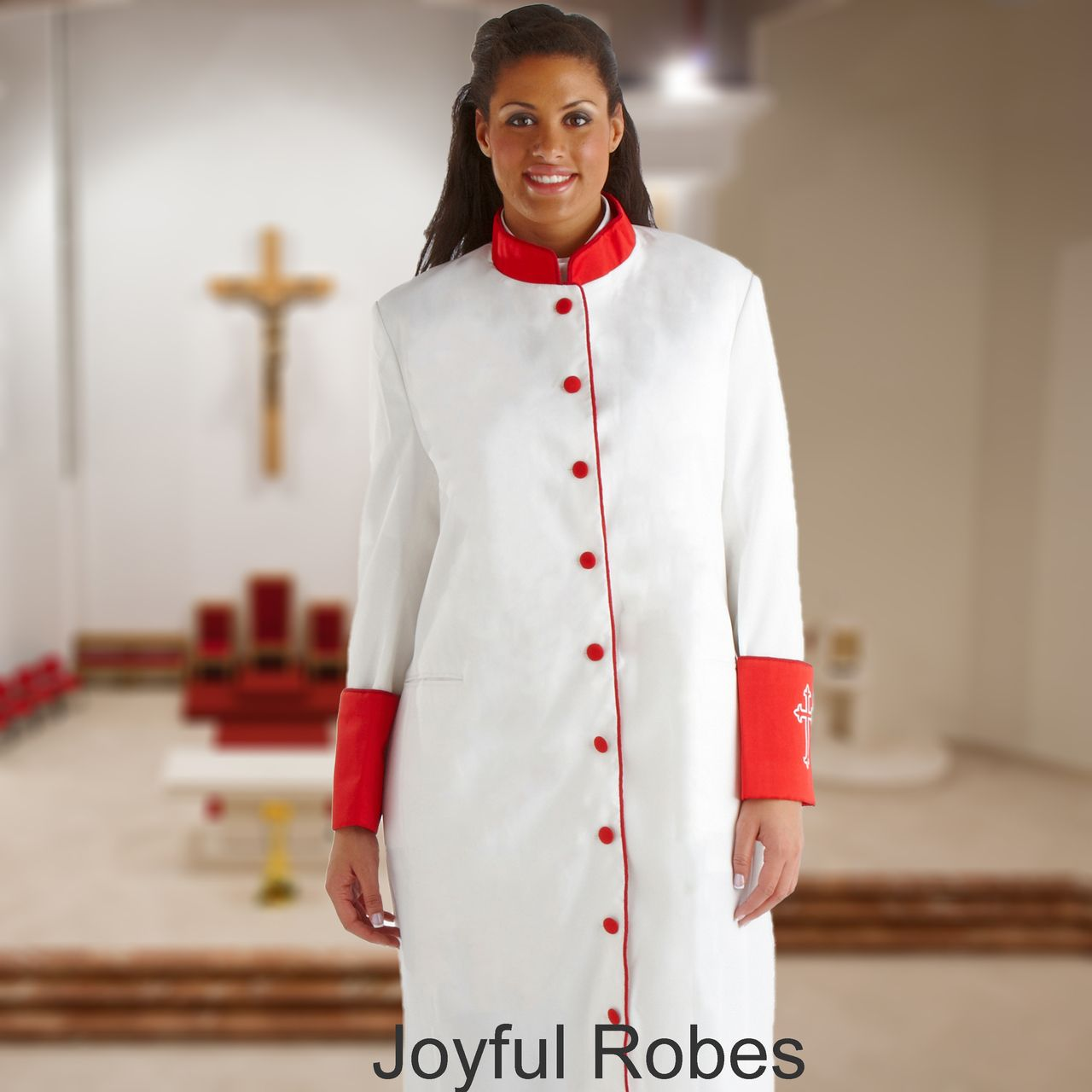311 W. Women's Clergy/Pastor Robe - White/Red Cuff