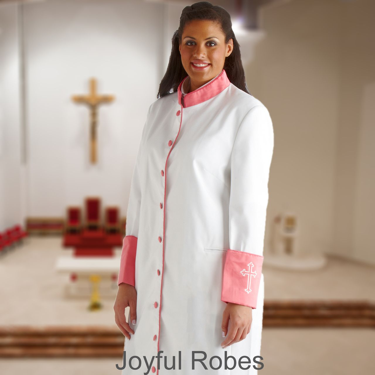 307 W. Women's Clergy/Pastor Robe - White/Rose Cuff