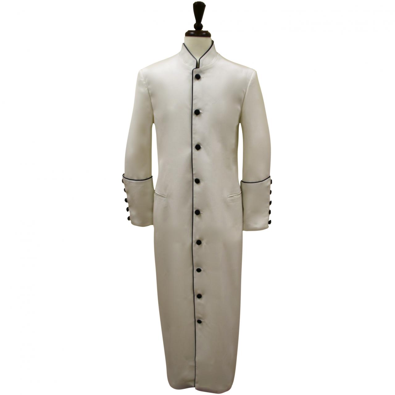 157 M. Men's Classic Pastor/Clergy Robe - Ivory/Black