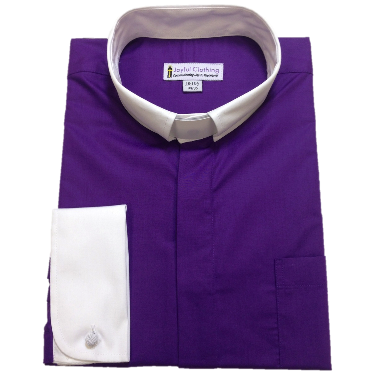 134. Men's Contrast Tab-Collar Clergy Shirt - Purple/White Collar