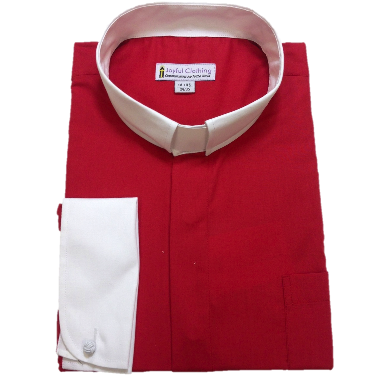 132. Men's Contrast Tab-Collar Clergy Shirt - Red/White Collar