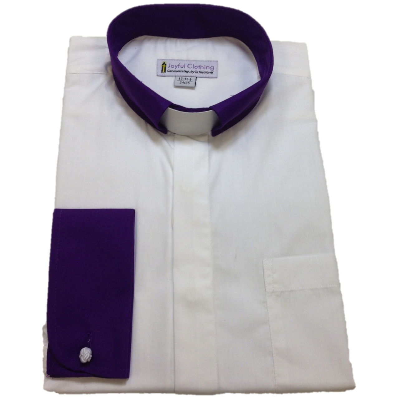 136. Men's Contrast Tab-Collar Clergy Shirt - White/Purple Collar