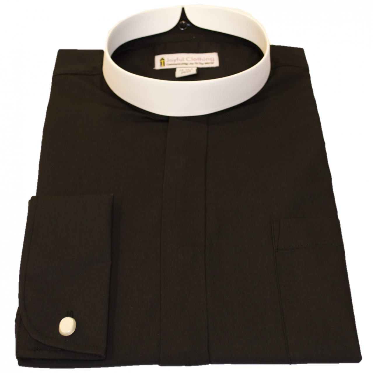 201. Men's Long-Sleeve Full Collar Banded Clergy Shirt - Black