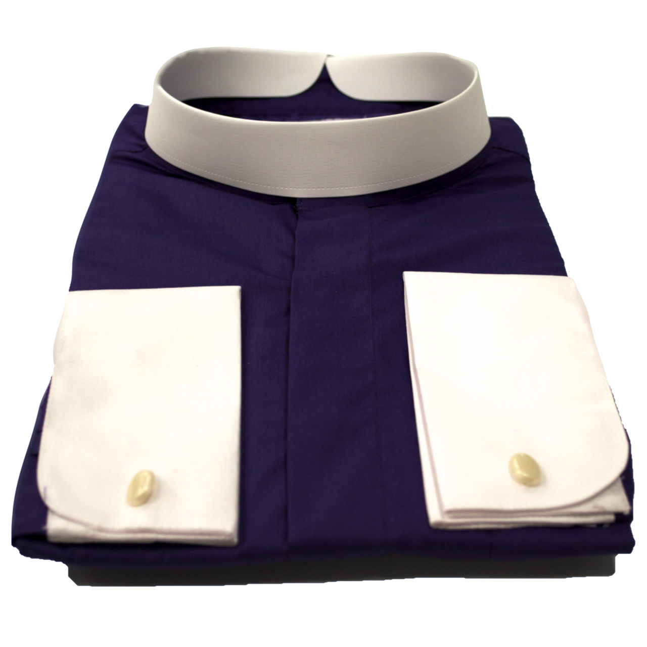 206. Men's Full-Collar Banded Clergy Shirt - Purple with White Cuffs