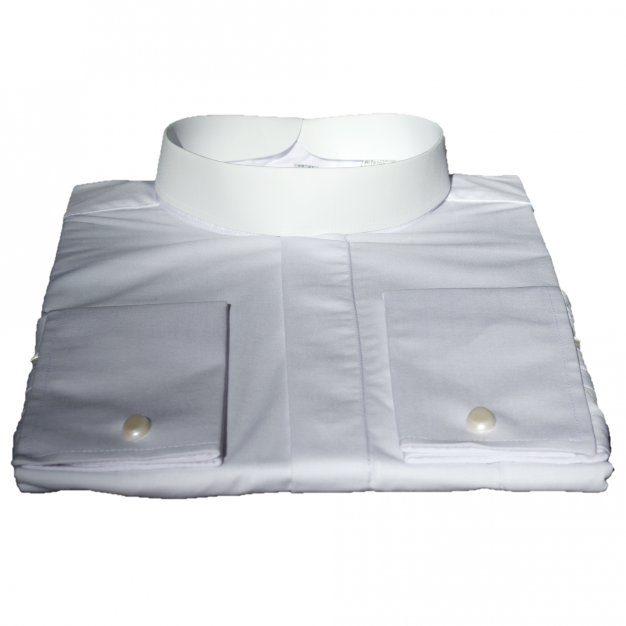 203. Men's Long-Sleeve Full-Collar Banded Clergy Shirt - White