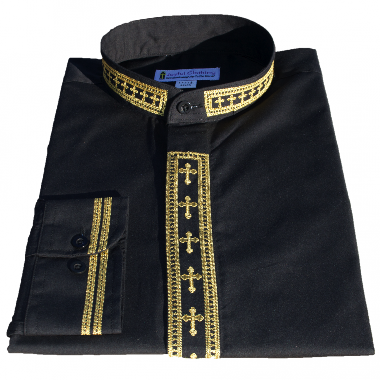306. Men's Long-Sleeve Clergy Shirt With Fine Embroidery - Black/Gold