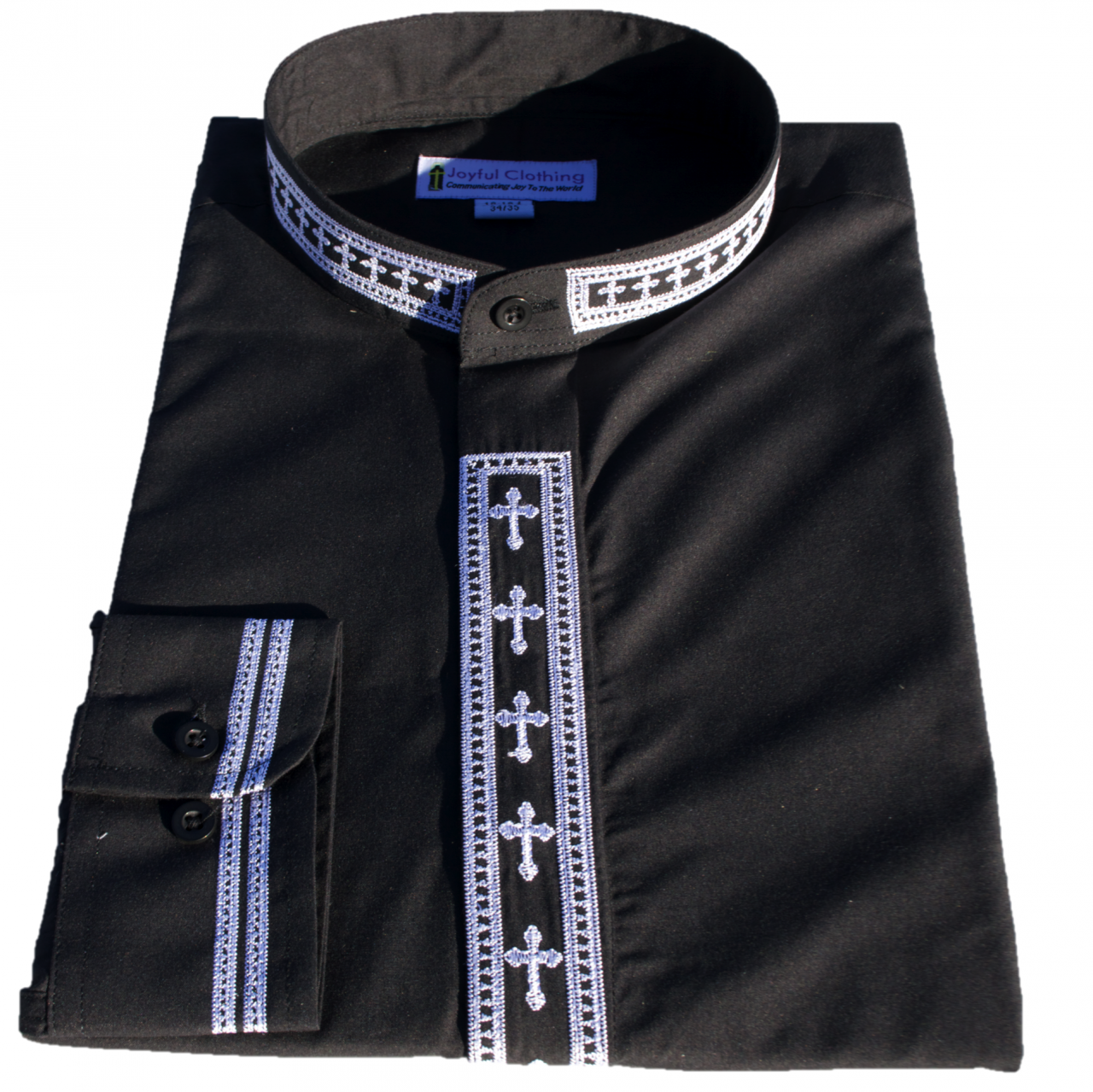 303. Men's Long-Sleeve Clergy Shirt With Fine Embroidery - Black/White