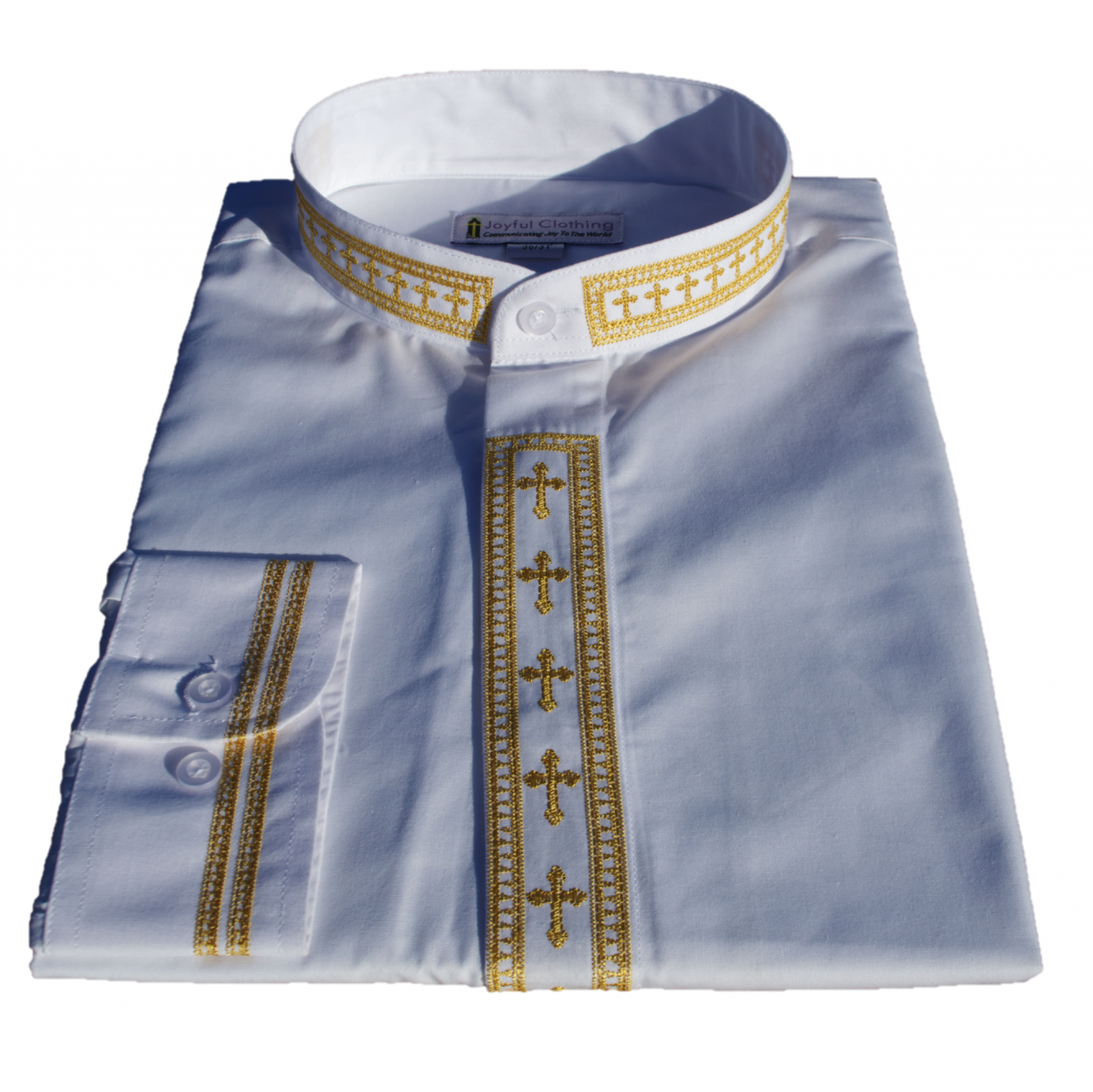 304. Men's Long-Sleeve Clergy Shirt With Fine Embroidery - White/Gold