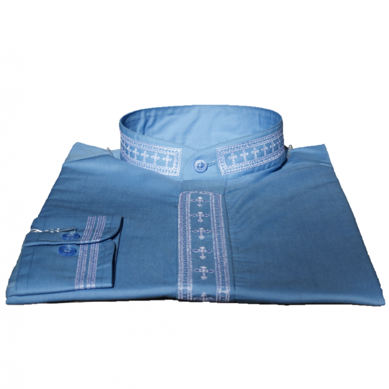 312. Men's Long-Sleeve Clergy Shirt With Fine Embroidery - Light Blue/White