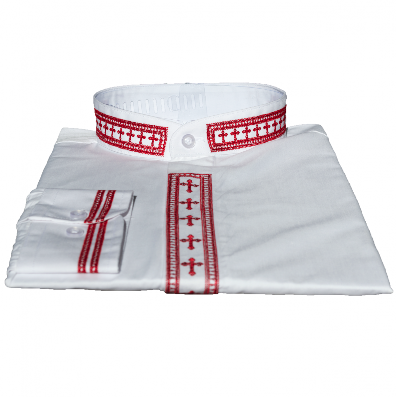 311. Men's Long-Sleeve Clergy Shirt With Fine Embroidery - White/Red