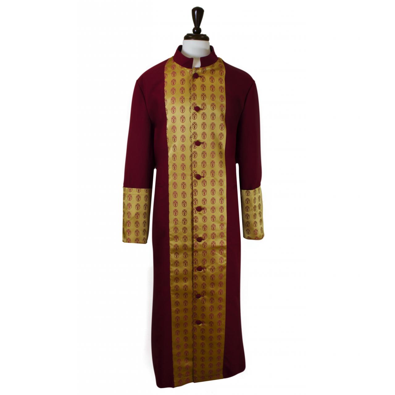 808 M. Men's Premium Pastor/Clergy Robe - Burgundy/Gold Brocade